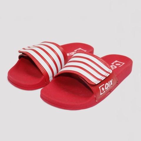 Chinelo Qix Velcro Slide - Vermelho/ Branco