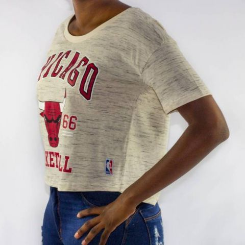Cropped NBA College Chicago Bulls - Creme Natural/Vermelho