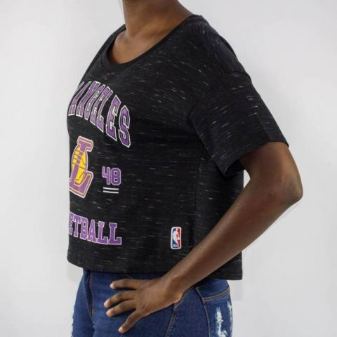 Cropped NBA College Los Angeles - Preta/Roxo