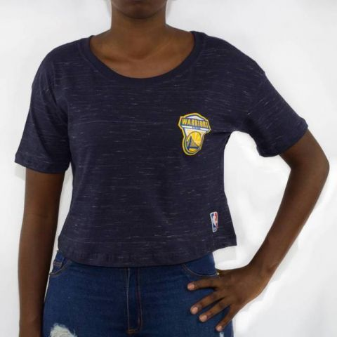 Cropped NBA Shield Golden States - Azul Marinho