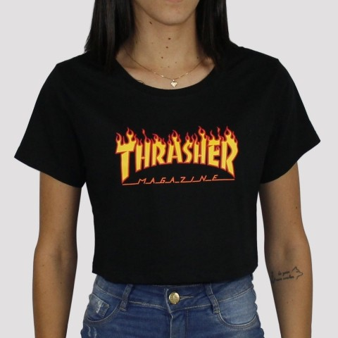 Cropped Thrasher Flame - Preto