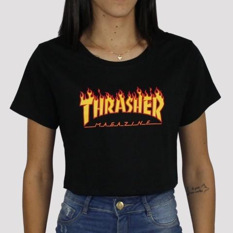Cropped Thrasher Flame - Preto