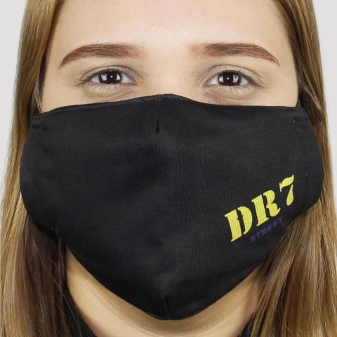 Máscara De Tecido DR7 Logo - Amarela/Roxo