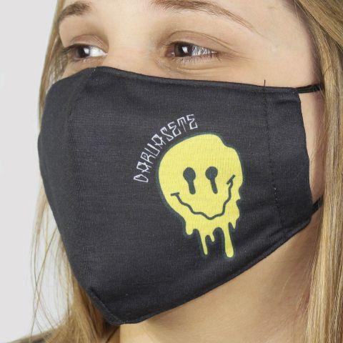 Máscara De Tecido DR7 Smile - Preto/Amarelo