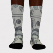 Meia 100 Dolares Verde/Branca