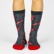 Meia Altai Bacon Cinza Escuro/ Vermelha
