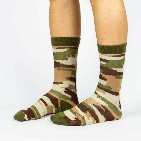 Meia Altai Camuflada Militar Verde Escuro/Marrom