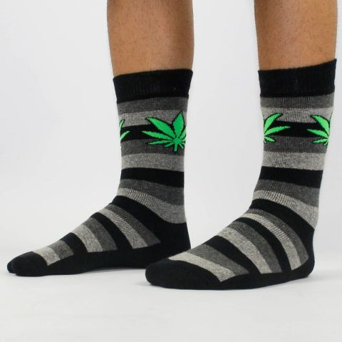 Meia Cannabis Cinza Of Black