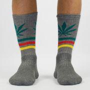 Meia Cannabis Cinza Reggae