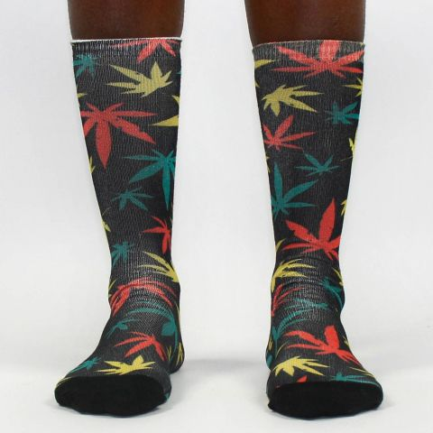 Meia Cannabis Colorida Of Black/Preta