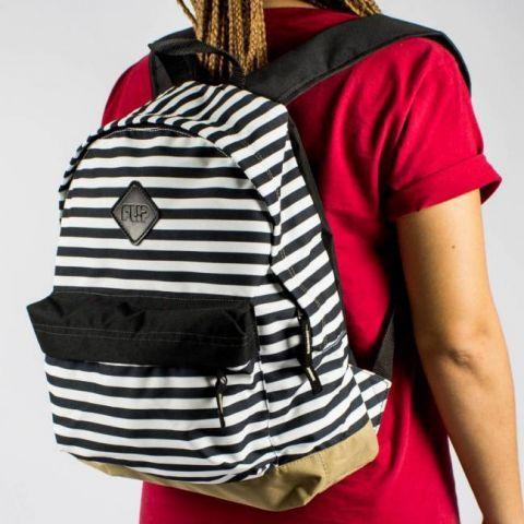 Mochila Flip Stripes Listrada Branca/Preta