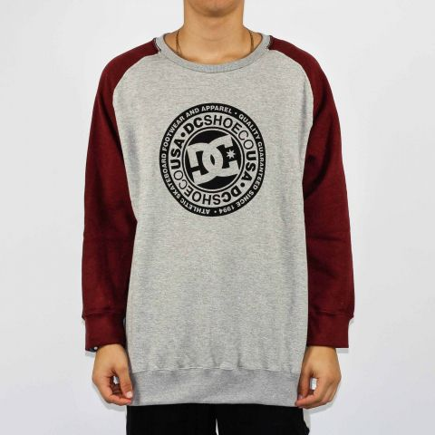 Moletom DC Shoes Careca Circle Raglan Cinza/Cordovan
