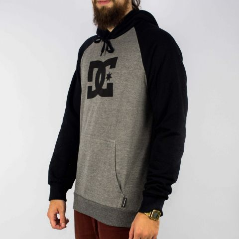 Moletom DC Shoes Raglan Preto/Cinza
