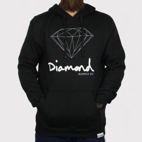Moletom Diamond OG Sign Hoodie - Black/Preto/Branco