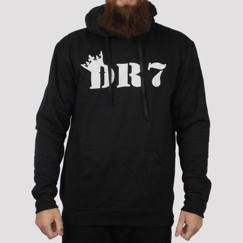 Moletom DR7 Canguru Logo Script - Preto