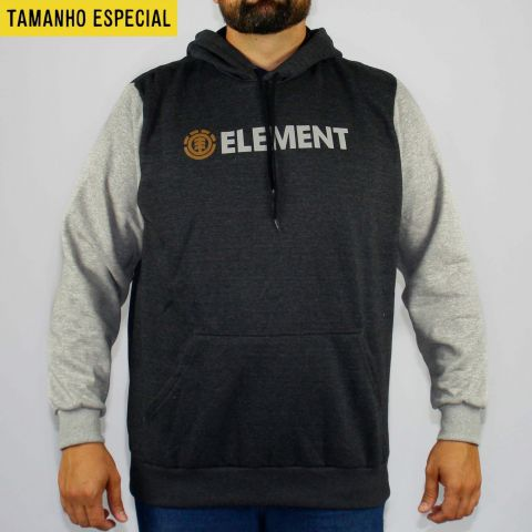 Moletom Element Duo Block Cinza Tamanho Especial