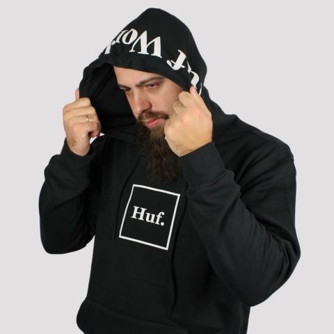 Moletom HUF Canguru Box Logo - Preto