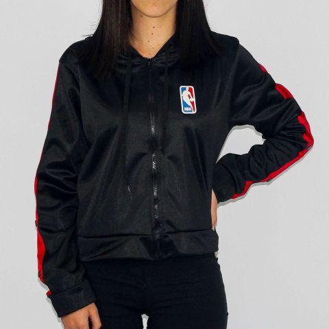 Jaqueta NBA Aberto Feminina Preto/Vermelho