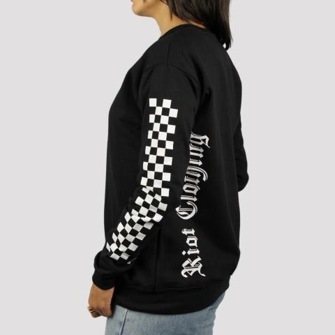 Moletom Riot Careca Invert Checkered - Preto