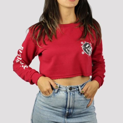 Moletom Riot Cropped Careca Wolf - Red Fly