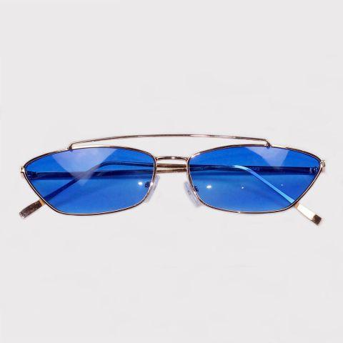 Óculos Festivo Retro Azul/Dourado