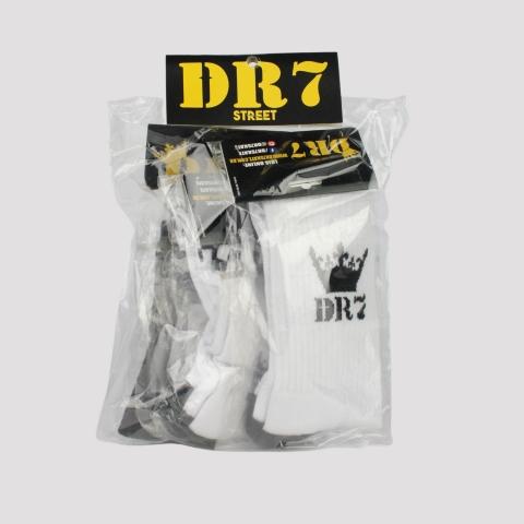 Pack de 3 Meias DR7 Cano Alto - Branco/ Preto
