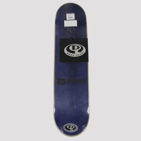 Shape Drop Dead Marfim Projeto Social Skate 8.0 - Azul/Branco/Vermelho