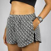 Shorts Feminino Gringa Boxer Caju Branco/Preto