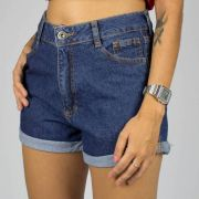 Shorts Feminino Gringa Mom Fit Basic Azul
