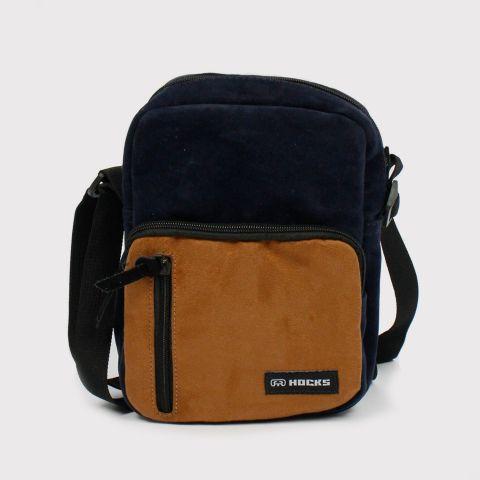 Shoulder Bag Hocks Viaggio - Azul Marinho/ Marrom