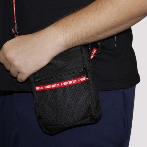 Shoulder Bag Pixa In Bolso Tela - Preto/Vermelho