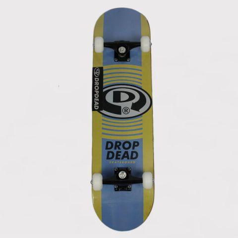 Skate Montado Drop Dead Iniciante Logo Circular - Amarelo/Azul/Preto