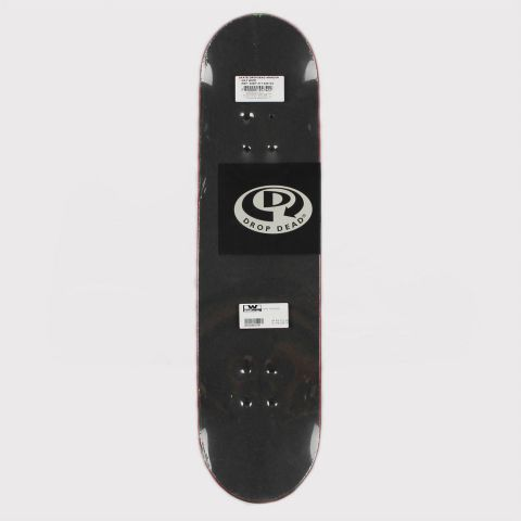 Skate Montado Drop Dead Iniciante Logo Linear - Preto/Coral/Branco