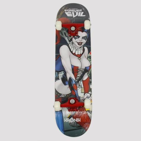 Skate Montado Kronik Arlequina Dc Comics - Azuk/Vermelho