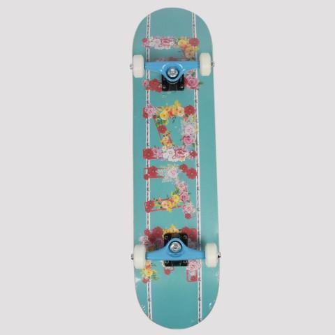 Skate Montado Make Floral - Azul