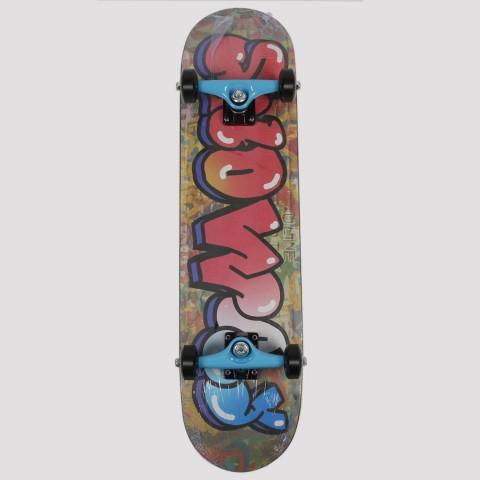 Skate Montado Snoway Grafite - Vermelho/Azul