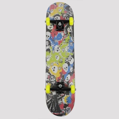Skate Montado Snoway Skull Death - Amarelo/Vermelho/Azul/Preto