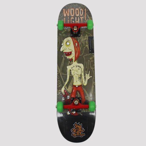 Skate Montado Wood Light Old School - Preto/Vermelho/Verde