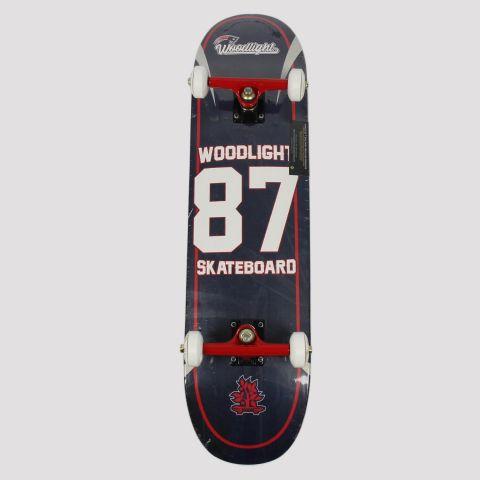 Skate Montado WoodLight 87 Skateboard - Preto/Branco/Vermelho