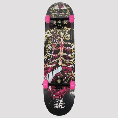 Skate Montado Woodlight Caveira - Preto/Rosa