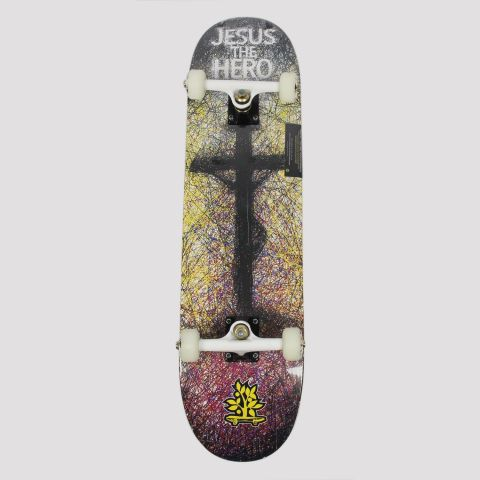 Skate Montado WoodLight Jesus The Hero - Preto/Branco