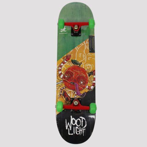 Skate Montado WoodLight Laranja Sketeboard - Preto/Verde