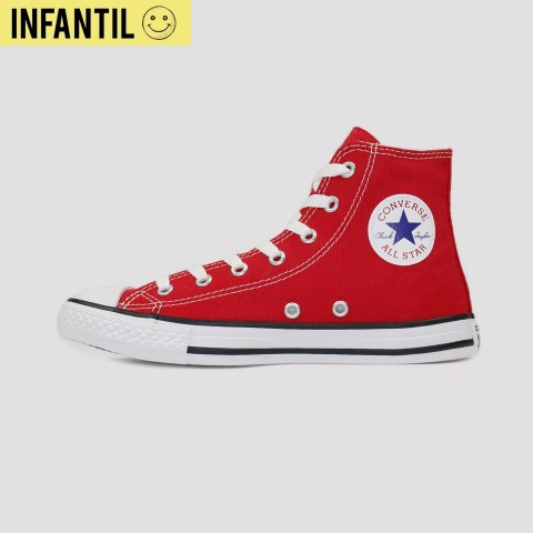 Tênis Converse All Star Chuck Taylor Hi Kids - Vermelho/Cru/Preto