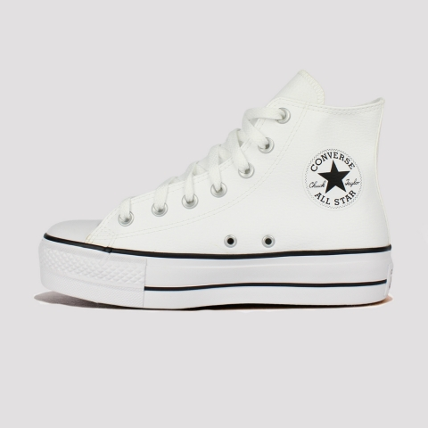 Tênis Converse All Star Chuck Taylor Hi Plataforma Couro - Branco