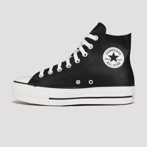 Tênis Converse All Star Chuck Taylor Hi Plataforma Couro - Preto