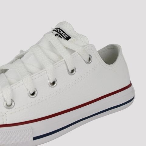 Tênis Converse All Star Chuck Taylor Kids Couro Infantil  - Branco/ Vermelho/ Marinho