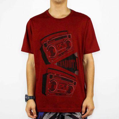 Camiseta Conduta Radio - Vermelha Queimada/Preto
