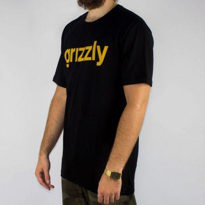 Camiseta Grizzly Lowercase Logo - Preta/Amarela (Tamanho Especial)