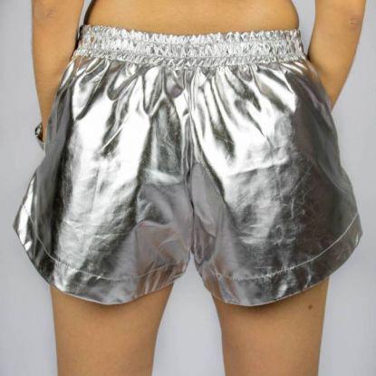Shorts Gringa Feminino Boxer Laminado Ziper Prata