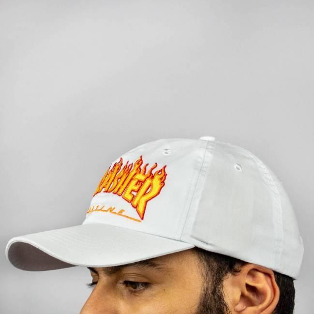 Boné Thrasher Dad Hat Flame - Branco